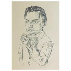"Max Beckmann Original Lithograph, 1922 Signed, ""Bildnis Simon"""