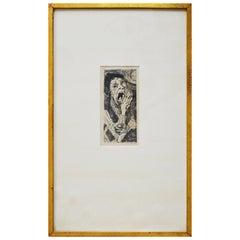 """Max Beckmann Signed """"Strasse II"""" 1916 German Expressionist Framed Drypoint Print"""