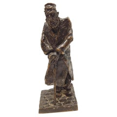Max Biskupski Poland, Bronze Sculpture of an Old Jew