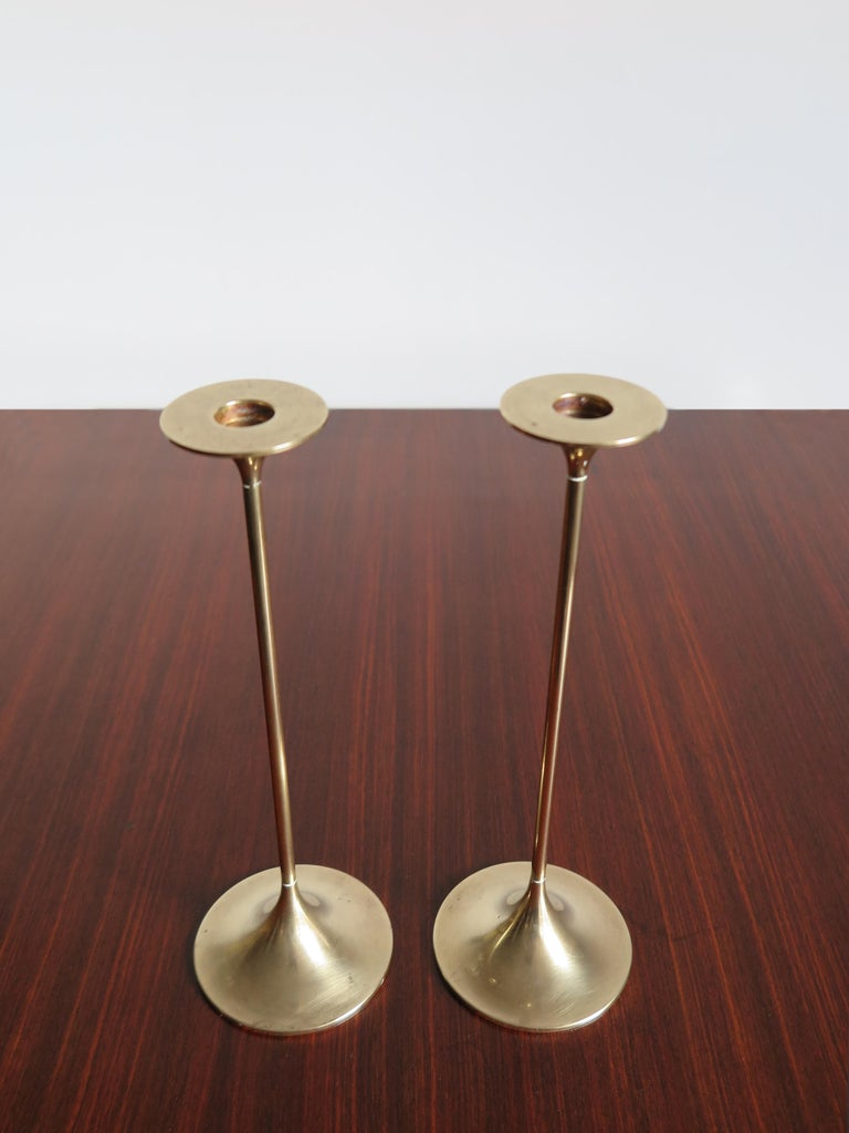 Scandinavian Modern Max Brüel for Torben Orskov Scandinavian Brass Candleholders, 1950s For Sale