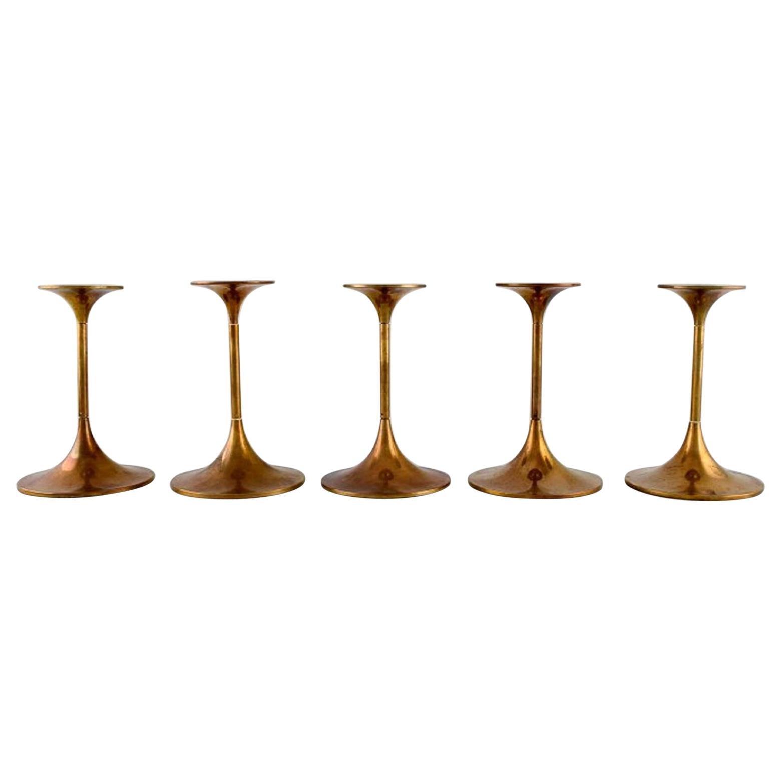 Max Brüel for Torben Ørskov, Five Hi-Fi Brass Candlesticks, Danish Design, 1960s