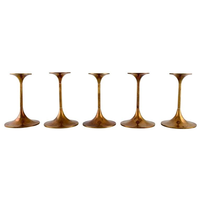 Max Brüel for Torben Ørskov, Five Hi-Fi Brass Candlesticks, Danish Design, 1960s For Sale