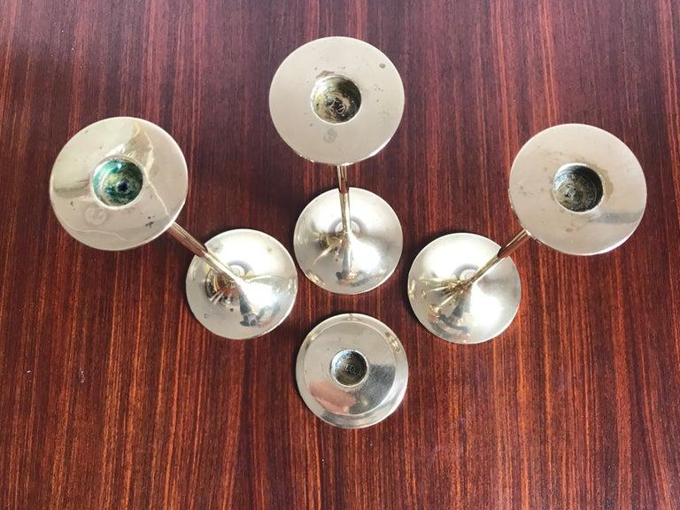 Danish Max Brüel for Torben Ørskov Scandinavian Brass Candleholders, 1950s For Sale
