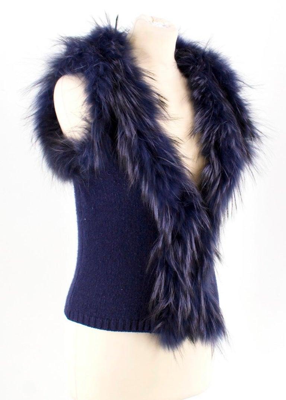 Black Max by Lederer Cashmere, Wool & Racoon Fur Gilet - Size S For Sale