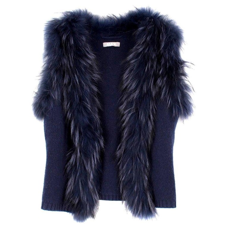 Max by Lederer Cashmere, Wool & Racoon Fur Gilet - Size S For Sale