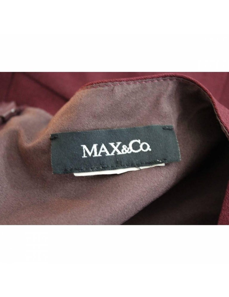 Max & Co Burgundy Viscose A Line Sheath Dress In Excellent Condition For Sale In Brindisi, Bt