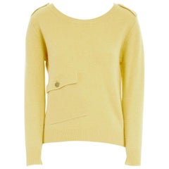 MAX & CO. MAX MARA 100% wool canary yellow patch pocket sweater top S