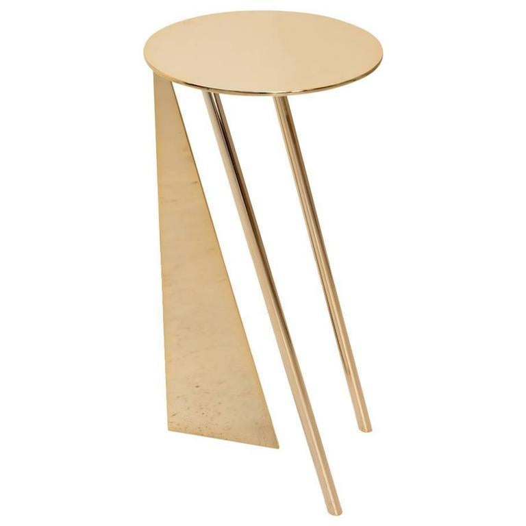 """Spanish Max Enrich Contemporary Modern Round Side Table Model """"Stabile"""" Bronze/Gold For Sale"""