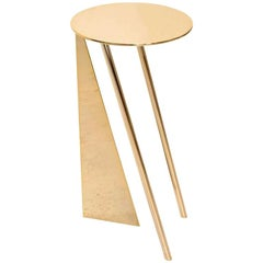 """Max Enrich Contemporary Modern Round Side Table Model """"Stabile"""" Bronze/Gold"""