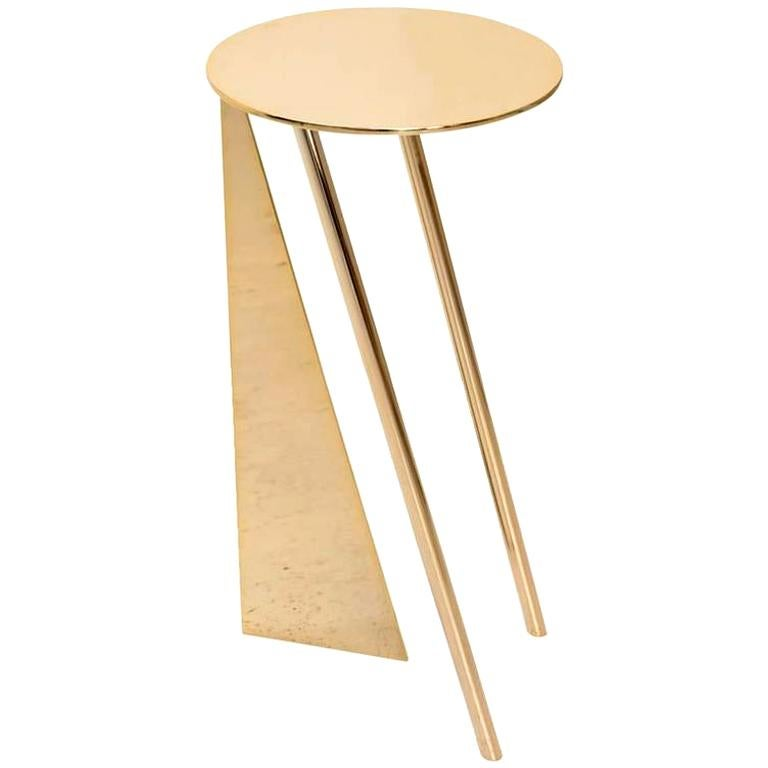 """Max Enrich Contemporary Modern Round Side Table Model """"Stabile"""" Bronze/Gold For Sale"""