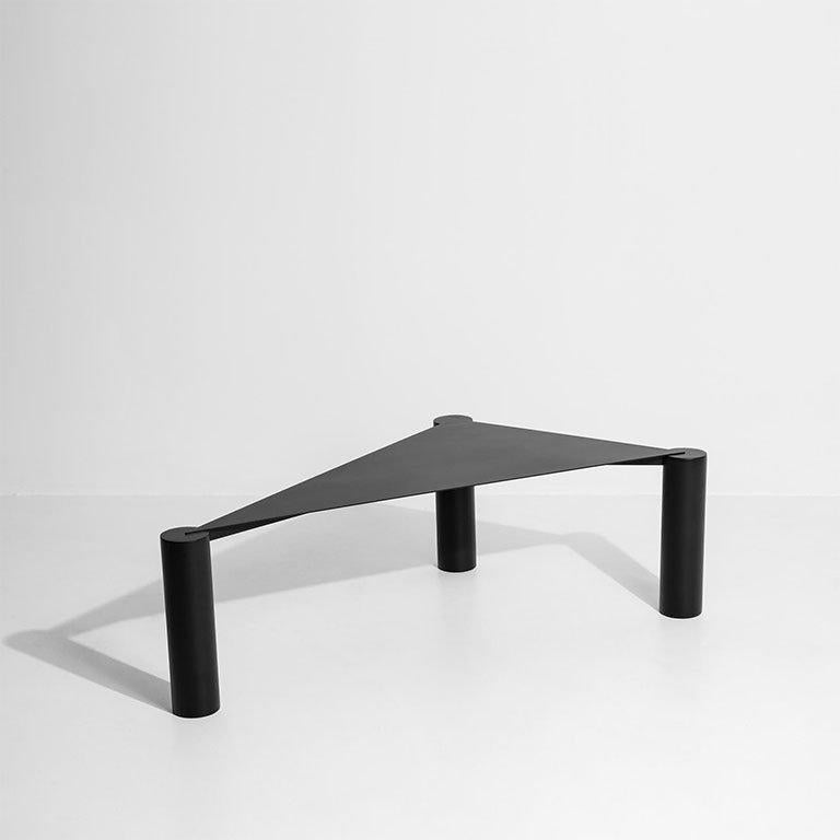 Spanish Triangular Black Powder Coated Iron by Max Enrich Model Side or coffee table For Sale