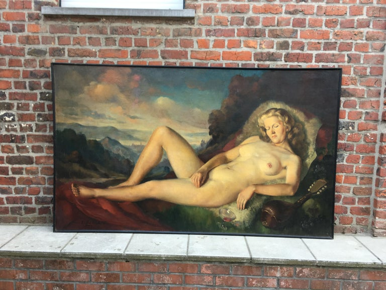 Art Deco Max Ernest Clart, Large Oil on Canvas, circa 1960 For Sale