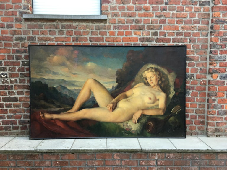 Mid-20th Century Max Ernest Clart, Large Oil on Canvas, circa 1960 For Sale