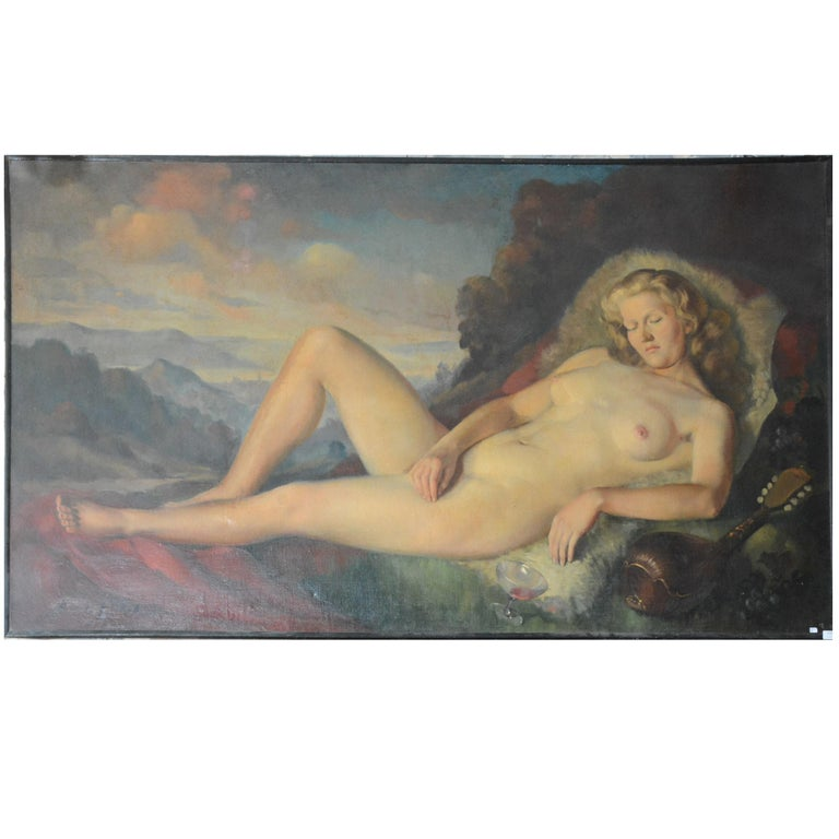 Max Ernest Clart, Large Oil on Canvas, circa 1960 For Sale