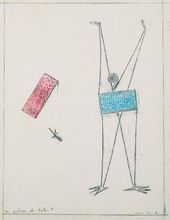 Un Acteur de Talent - Original  Frottage by Max Ernst - 1972