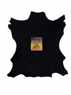 Une Pyramide en Colère, Original Micro-Painting on Leather by Max Ernst