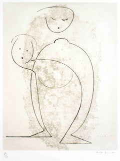 Composition of Two Figures - Original Etching by Max Ernst - 1968