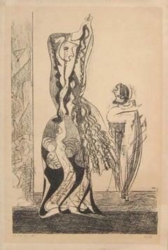 Danseuses - Original Lithograph by Max Ernst - 1950
