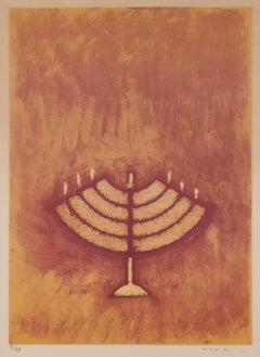 Menorah - Original Lithograph by Max Ernst - 1971