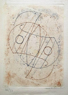 Obliques - Original Etching by Max Ernst - 1967