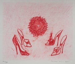 Pink Heel Shoes - Original Lithograph, Handsigned - Limited 79 copies