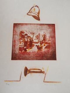 Red Memory - Original Lithograph Handsigned and limited 79 copies - Mourlot 1972