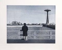 Coney Island - Self-Portrait, Etching by Max Ferguson