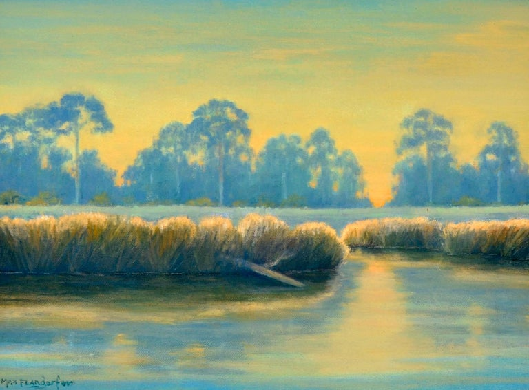 Bayou in Blue & Gold - Painting by Max Flandorfer