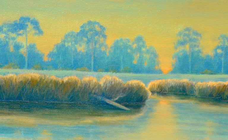 Bayou in Blue & Gold - American Impressionist Painting by Max Flandorfer