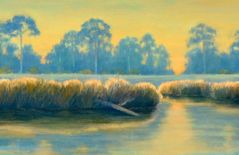 Bayou in Blue & Gold - Brown Landscape Painting by Max Flandorfer
