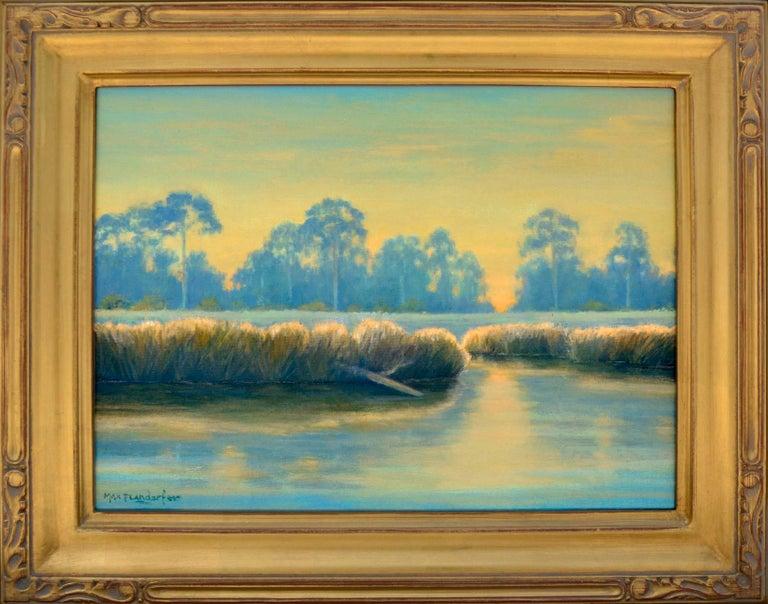 Max Flandorfer Landscape Painting - Bayou in Blue & Gold