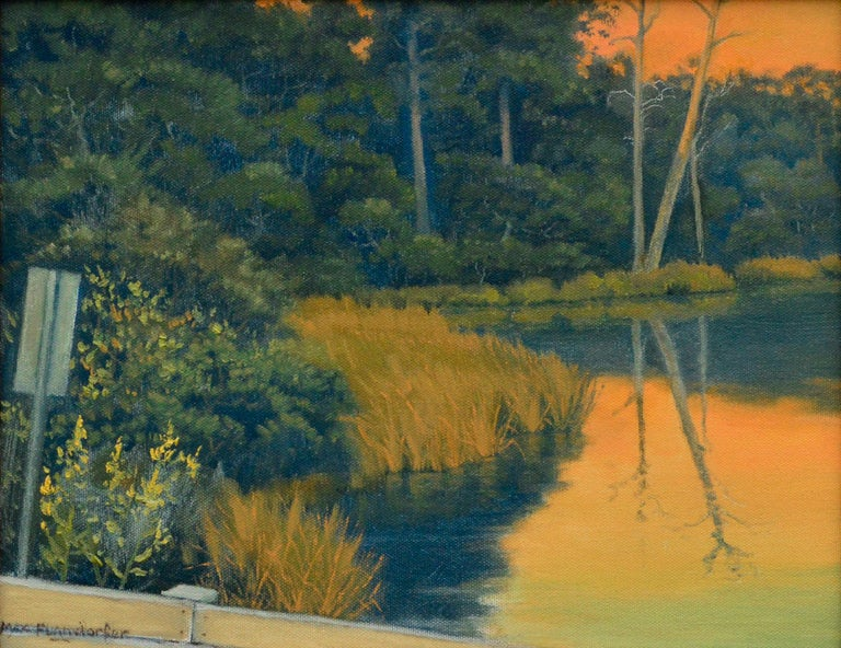 Quiet Pond at Sunset - California Golden Hour Landscape  - Painting by Max Flandorfer