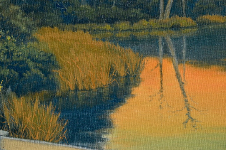 Quiet Pond at Sunset - California Golden Hour Landscape  - American Impressionist Painting by Max Flandorfer