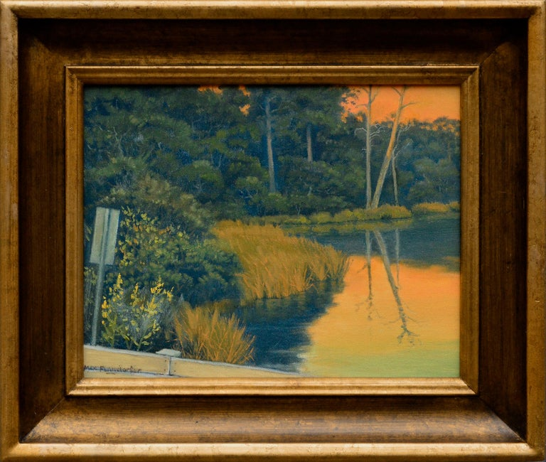 Max Flandorfer Landscape Painting - Quiet Pond at Sunset - California Golden Hour Landscape
