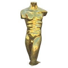 Figurative Bronze Gold Toned Nude Male Torso Sculpture