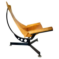Max Gottschalk Leather and Iron Sling Chair, 1960s