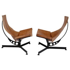 Max Gottschalk Saddle Leather & Iron Sling Chairs