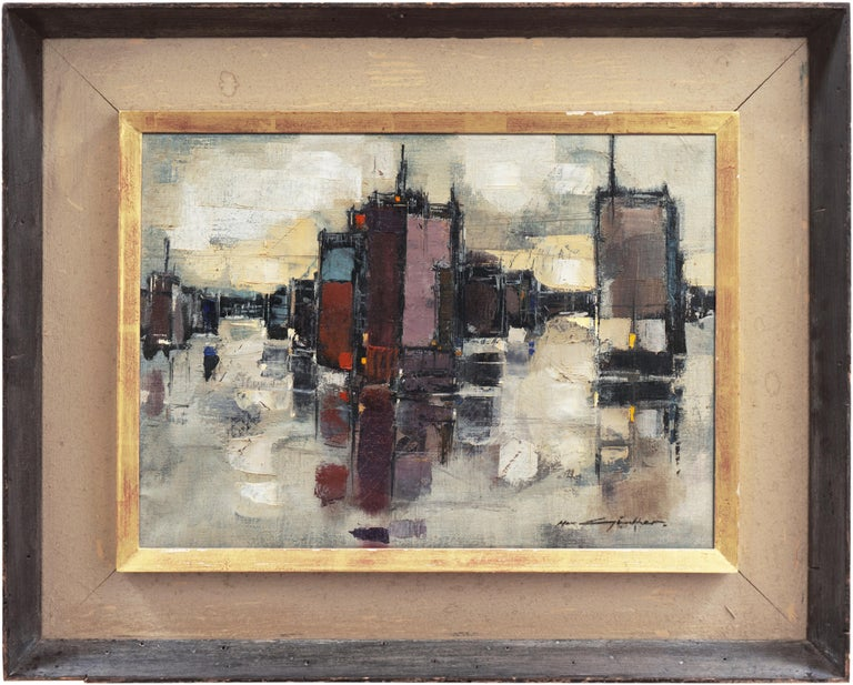 'Abstracted Cityscape', Modernist Abstract Oil from David Rockefeller Estate - Painting by Max Gunther