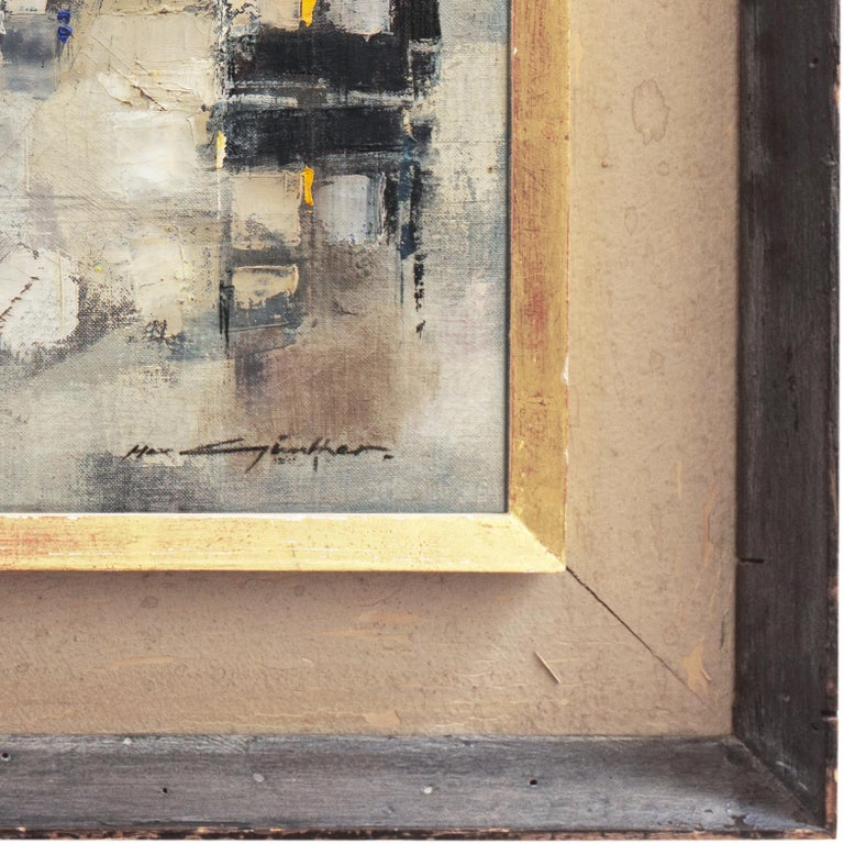 'Abstracted Cityscape', Modernist Abstract Oil from David Rockefeller Estate - Brown Landscape Painting by Max Gunther