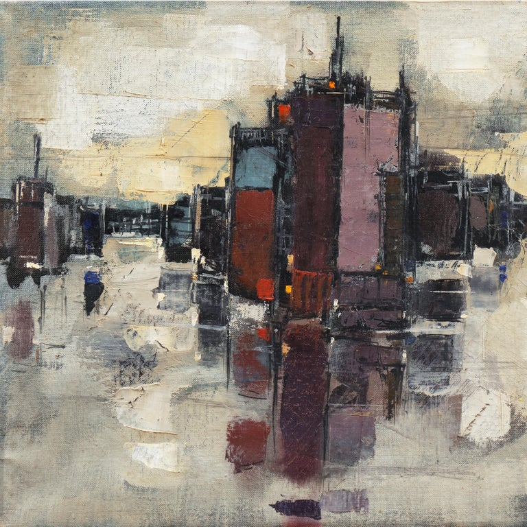 'Abstracted Cityscape', Modernist Abstract Oil from David Rockefeller Estate For Sale 1
