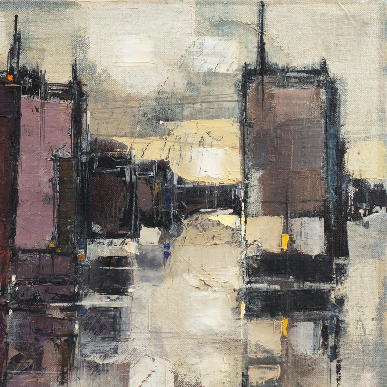 'Abstracted Cityscape', Modernist Abstract Oil from David Rockefeller Estate For Sale 4