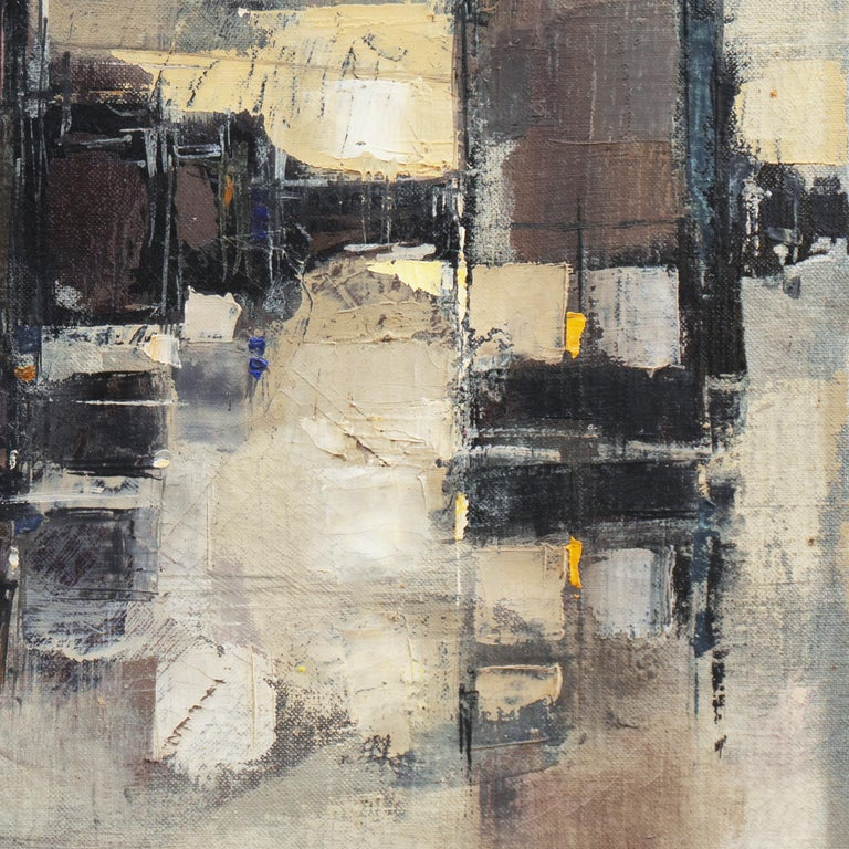 'Abstracted Cityscape', Modernist Abstract Oil from David Rockefeller Estate For Sale 5
