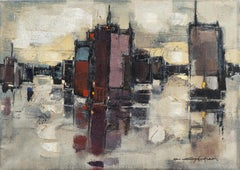 'Abstracted Cityscape', Modernist Abstract Oil from David Rockefeller Estate
