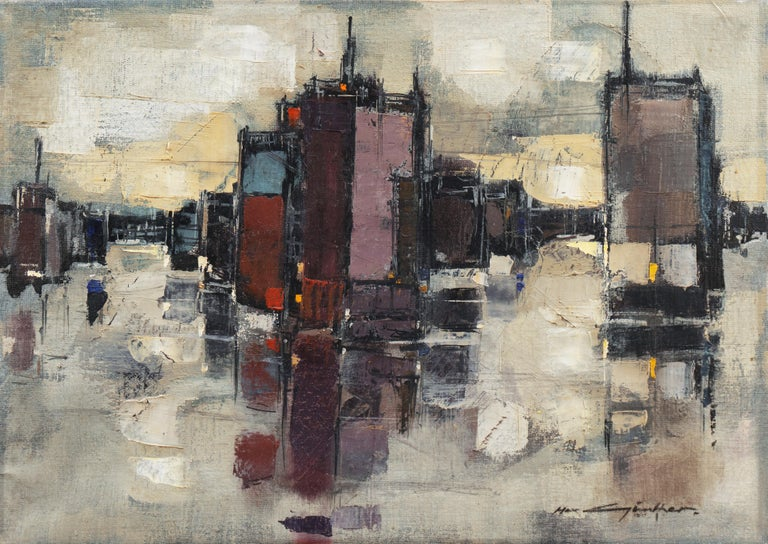 Max Gunther Landscape Painting - 'Abstracted Cityscape', Modernist Abstract Oil from David Rockefeller Estate