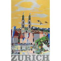Max Hunziker Zurich Original Vintage Travel Poster Switzerland City View Skiing