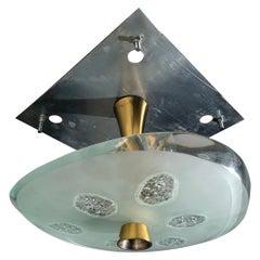 Max Ingrand Brass & Glass Ceiling Lamp, Model 1748 for Fontana Arte, Italy, 1957