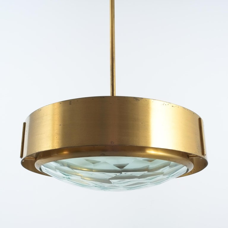 Max Ingrand Brass Glass Pendant Lamp for Fontana Arte, circa 1960 For Sale 3
