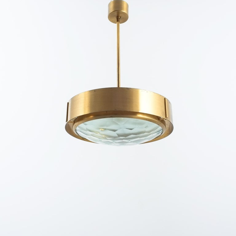 Italian Max Ingrand Brass Glass Pendant Lamp for Fontana Arte, circa 1960 For Sale