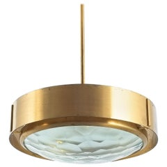 Max Ingrand Brass Glass Pendant Lamp for Fontana Arte, circa 1960