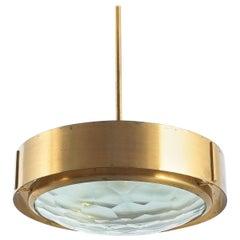Rare Max Ingrand Brass Glass Pendant Lamp for Fontana Arte, circa 1960